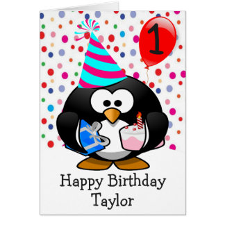 Happy Birthday Penguin Kids 1 Year Old Card