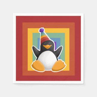 Happy Birthday Penguin Rainbow Square Napkin Paper Napkins