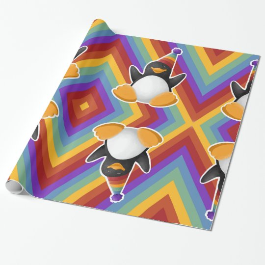 Happy Birthday Penguin Rainbow Wrapping Paper