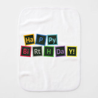 Happy Birthday Periodic Burp Cloth