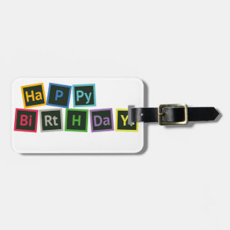 Happy Birthday Periodic Luggage Tag