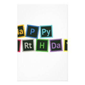 Happy Birthday Periodic Personalized Stationery