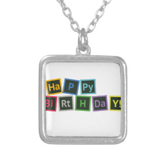 Happy Birthday Periodic Silver Plated Necklace