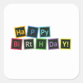 Happy Birthday Periodic Square Sticker