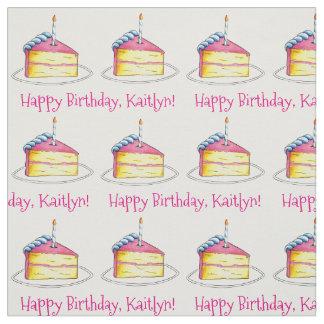 Happy Birthday Personalized Bday Cake Slice Pink Fabric