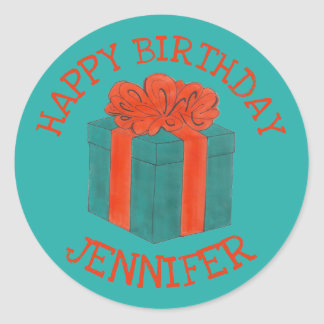 Happy Birthday Personalized Blue Red Gift Box Bow Classic Round Sticker