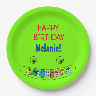 HAPPY BIRTHDAY Personalized Smiley Toothy Face Paper Plate