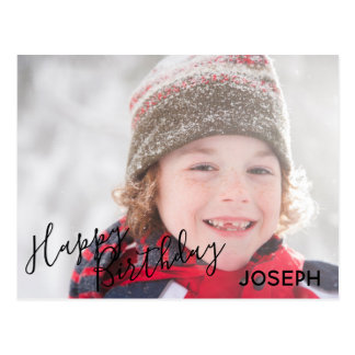 Happy Birthday Photo Blue Camo - Birthday Postcard