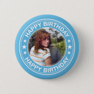 Happy Birthday Picture Frame in Blue 2 Inch Round Button