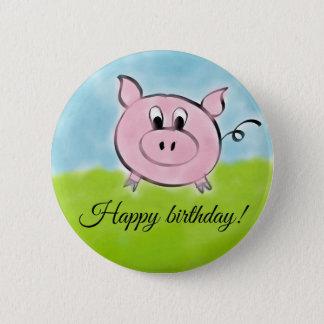 Happy birthday pig 2 inch round button
