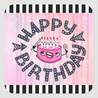 Happy Birthday Pink and Black Funny Cake Stickers