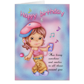 Happy Birthday Pink And Blue - Little Girl Greeting Card