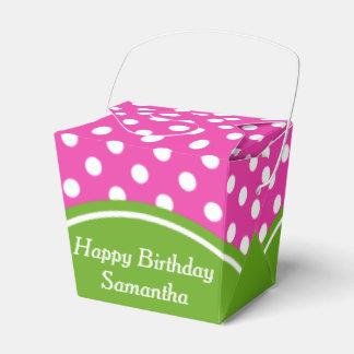 Happy Birthday Pink and Green Polka Dot Wedding Favor Box