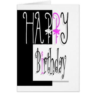 Happy birthday pink black women girls roses greeting card