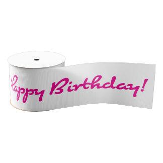 Happy Birthday! Pink Casual Script Grosgrain Ribbon