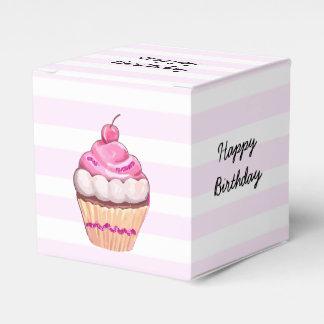 Happy Birthday Pink Cherry Cupcake Box