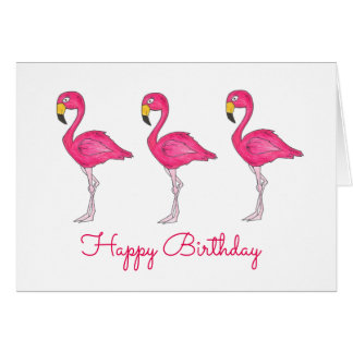 Happy Birthday Pink Flamingo Flamingos Bird Card