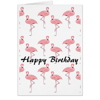 Happy Birthday Pink Flamingo Pattern Card