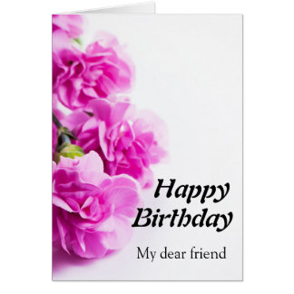 Happy Birthday Pink flowers on white background Card