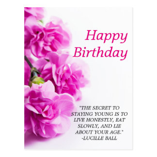 Happy Birthday Pink flowers on white background Postcard