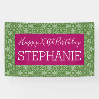 Happy Birthday - Pink Green Patterned Banner