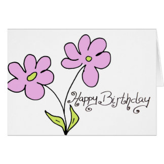 happy birthday pink greeting card