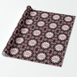 Happy Birthday Pink Heart Mandala Black Wrap Paper