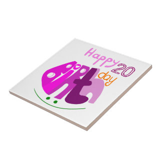 Happy Birthday pink letters tile