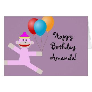 Happy Birthday Pink Monkey greeting card