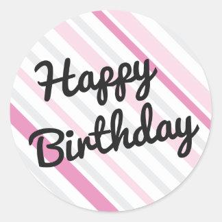 Happy Birthday PINK Round Sticker