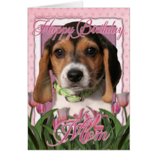 Happy Birthday - Pink Tulips - Beagle Puppy Card