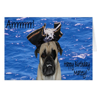 Happy Birthday Pirate Pug Card