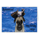 Happy Birthday Pirate Pug Greeting Cards