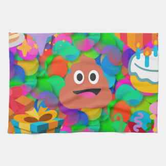 happy birthday poop emoji kitchen towel