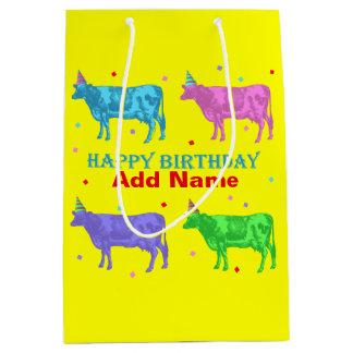 Happy Birthday Pop Art Cows Medium Gift Bag