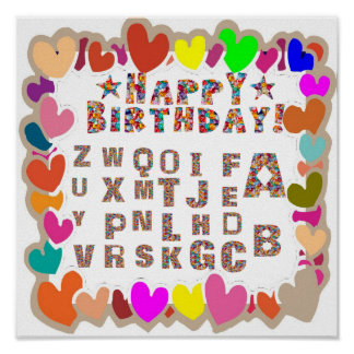 HAPPY BIRTHDAY poster for KIDS