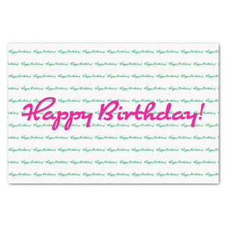 Happy Birthday! Preppy spring pink green casual Tissue Paper