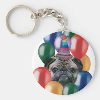 Happy birthday Pug dog Keychain