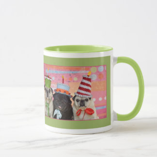 Happy Birthday Pug Ringer Mug