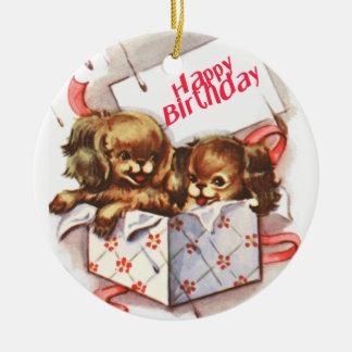 Happy Birthday Puppies Ceramic Ornament