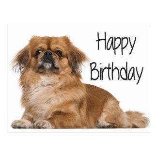 Happy Birthday Puppy Dog Black Postcard