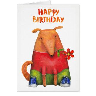 Happy Birthday Puppy with Flower  Blank Inside Card