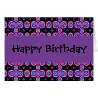 Happy Birthday purple and  black fractal Card