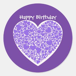 Happy Birthday, purple and white hearts Round Sticker
