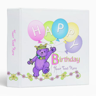 Happy Birthday Purple Bears and Balloons 1.5 Inch Binders