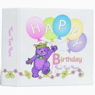 Happy Birthday Purple Bears and Balloons 2 Inch 3 Ring Binder