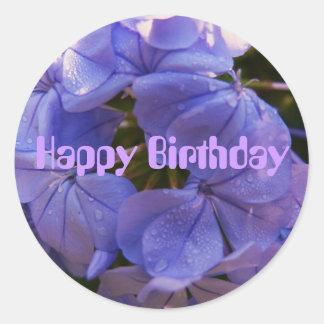 Happy Birthday, purple blooms Classic Round Sticker