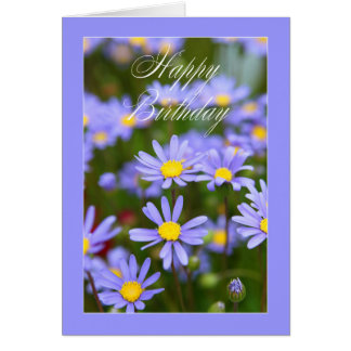 Happy Birthday purple daisy Card