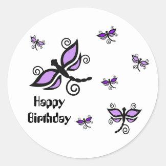Happy Birthday, purple digital art dragonflies Round Sticker