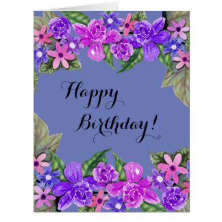 Happy Birthday! Purple Floral Swags, Large Card